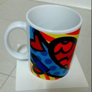 NWOT Heart Mug Red Blue Yellow Orange White